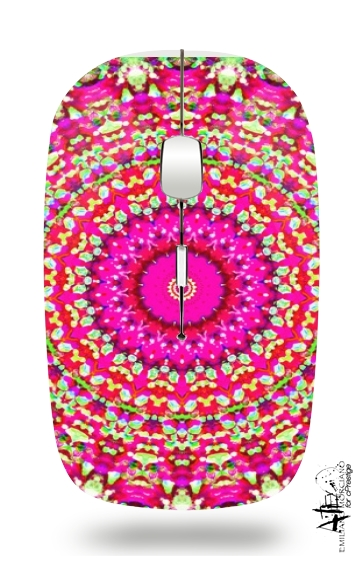 Arabesque Neon Green and Pink for Wireless optical mouse with usb receiver