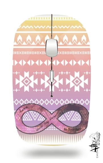 Pink Aztec Infinity for Wireless optical mouse with usb receiver