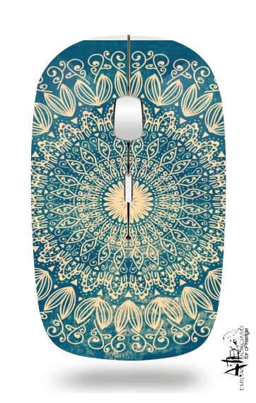 Blue Organic boho mandala for Wireless optical mouse with usb receiver
