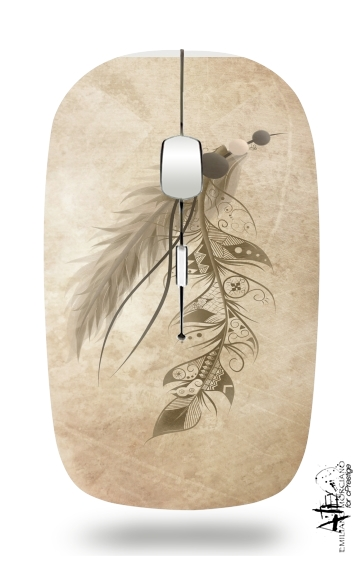 Boho Feather for Wireless optical mouse with usb receiver