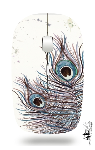 Boho Peacock Feather for Wireless optical mouse with usb receiver