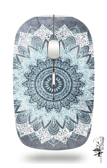 Bohochic Mandala in Blue for Wireless optical mouse with usb receiver