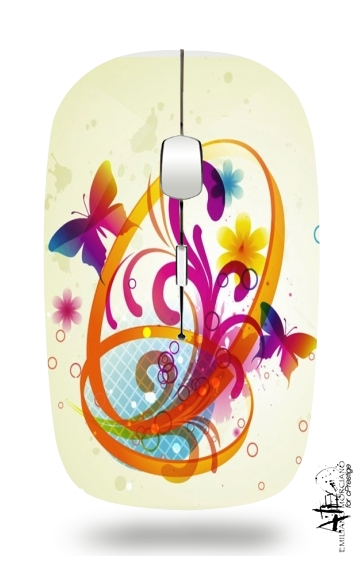 Butterfly with flowers for Wireless optical mouse with usb receiver