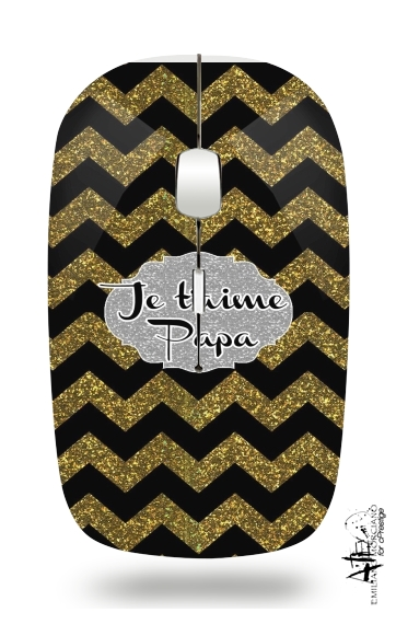 chevron gold and black - Je t'aime Papa for Wireless optical mouse with usb receiver