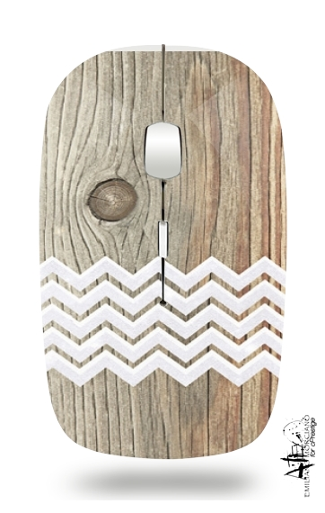 Chevron on wood for Wireless optical mouse with usb receiver