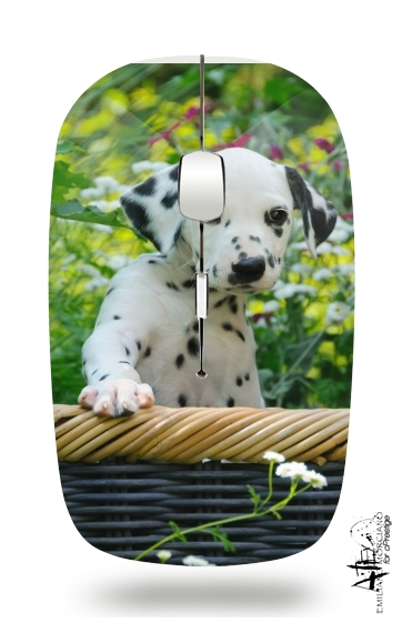Cute Dalmatian puppy in a basket  for Wireless optical mouse with usb receiver