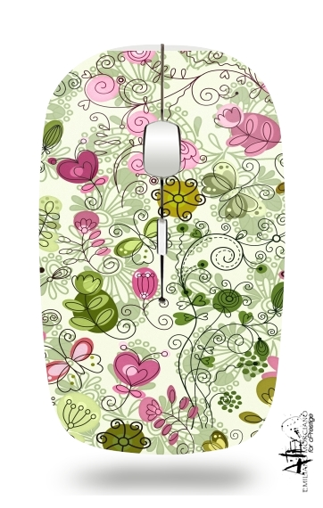doodle flowers for Wireless optical mouse with usb receiver