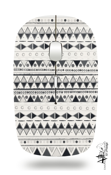 Ethnic Candy Tribal in Black and White for Wireless optical mouse with usb receiver