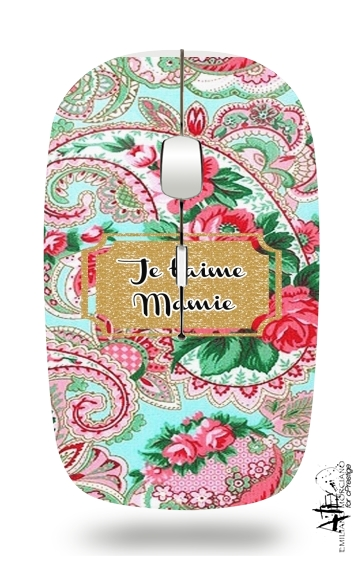 Floral Old Tissue - Je t'aime Mamie for Wireless optical mouse with usb receiver