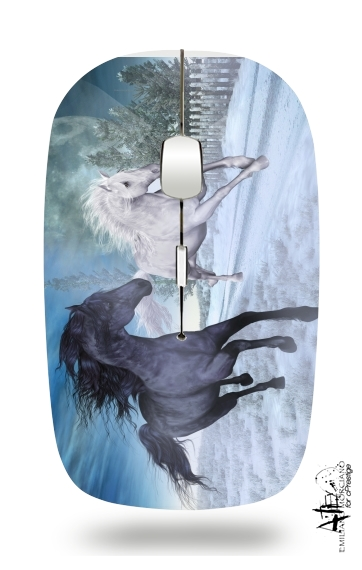 Horse freedom in the snow for Wireless optical mouse with usb receiver