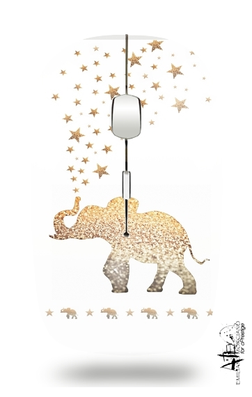 Gatsby Gold Glitter Elephant for Wireless optical mouse with usb receiver