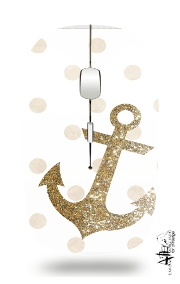 Glitter Anchor and dots in gold for Wireless optical mouse with usb receiver