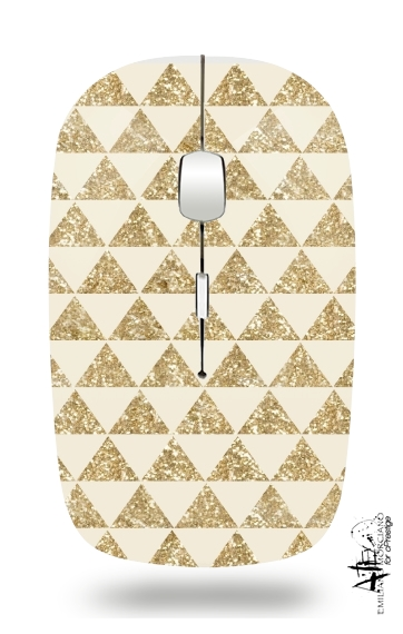 Glitter Triangles in Gold for Wireless optical mouse with usb receiver