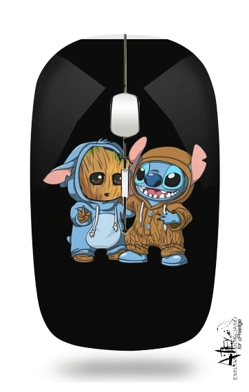 Groot x Stitch for Wireless optical mouse with usb receiver