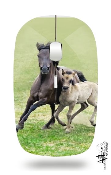 Horses, wild Duelmener ponies, mare and foal for Wireless optical mouse with usb receiver