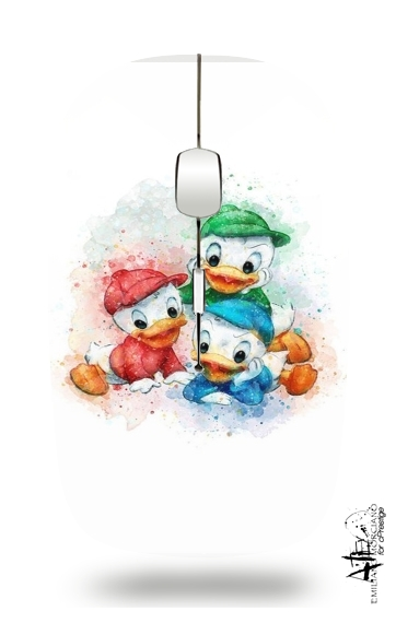 Huey Dewey and Louie watercolor art for Wireless optical mouse with usb receiver