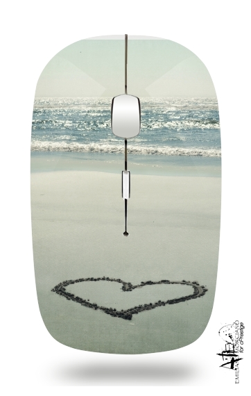 I Heart the Beach for Wireless optical mouse with usb receiver