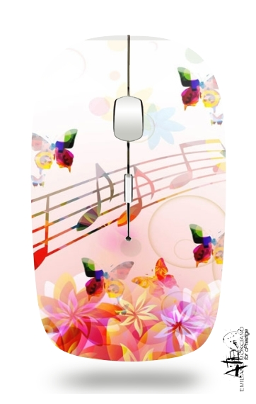 Musical Notes Butterflies for Wireless optical mouse with usb receiver