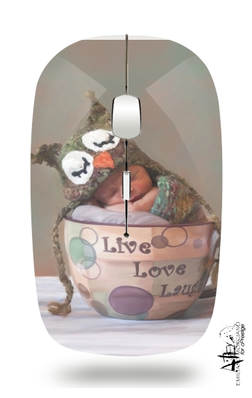 Painting Baby With Owl Cap in a Teacup for Wireless optical mouse with usb receiver