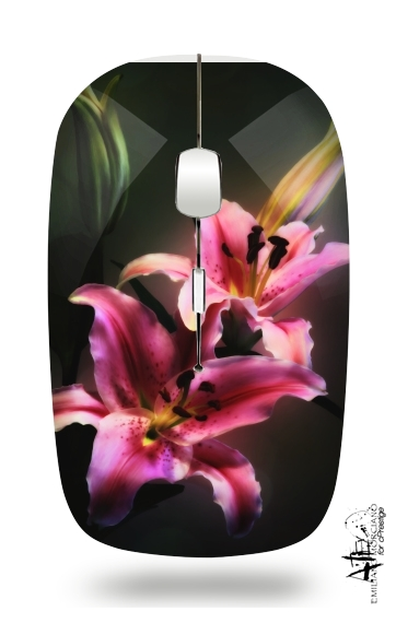 Painting Pink Stargazer Lily for Wireless optical mouse with usb receiver
