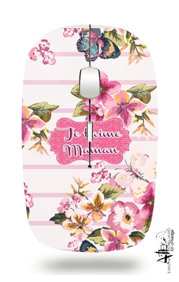 Pink floral Marinière - Je t'aime Maman for Wireless optical mouse with usb receiver