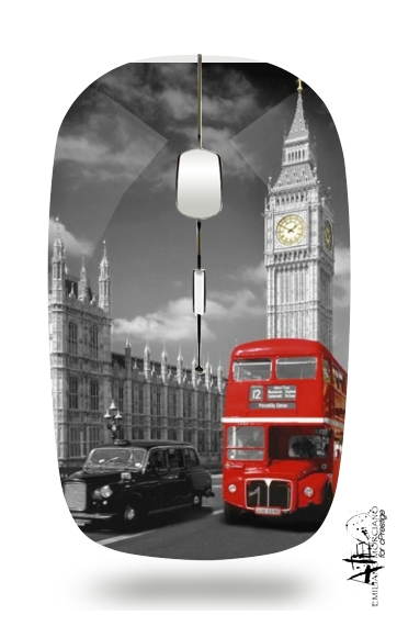 Red bus of London with Big Ben for Wireless optical mouse with usb receiver