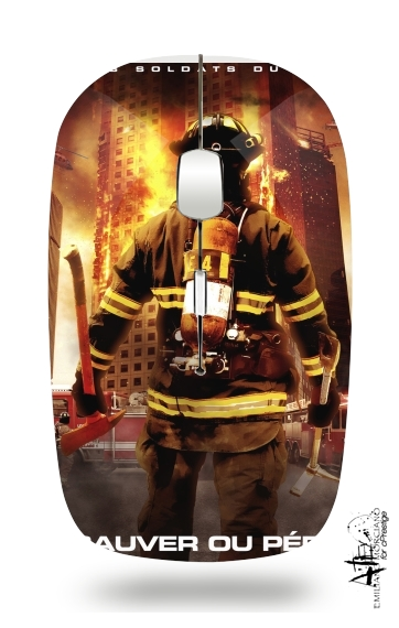 Save or perish Firemen fire soldiers for Wireless optical mouse with usb receiver