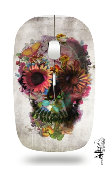 Skull Flowers Gardening for Wireless optical mouse with usb receiver