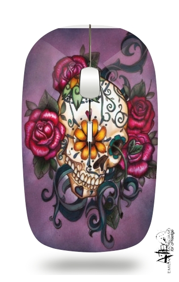 Skull Flowers Purple for Wireless optical mouse with usb receiver