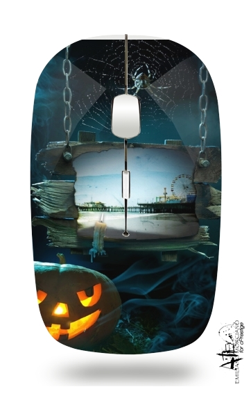 Spooky Halloween Santa Monica Pier for Wireless optical mouse with usb receiver