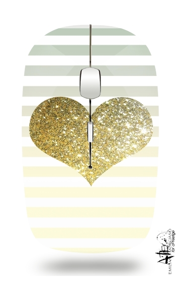 Sunny Gold Glitter Heart for Wireless optical mouse with usb receiver