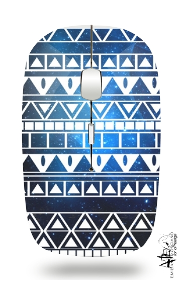 Tribal Aztec Pattern Blue for Wireless optical mouse with usb receiver