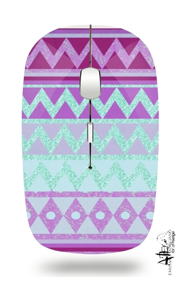 Tribal Chevron in pink and mint glitter for Wireless optical mouse with usb receiver