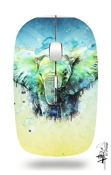 watercolor elephant for Wireless optical mouse with usb receiver