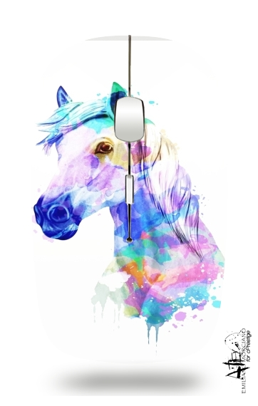 watercolor horse for Wireless optical mouse with usb receiver