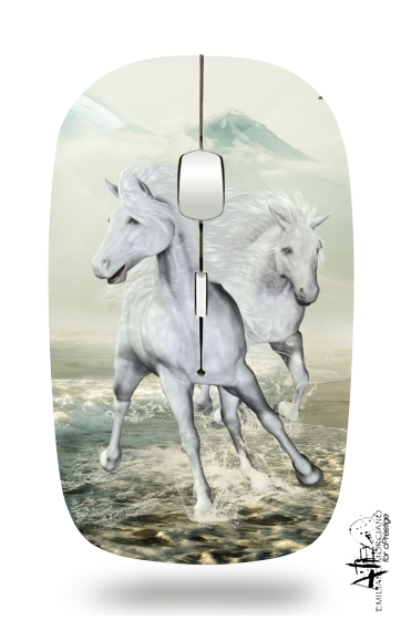 White Horses on the beach for Wireless optical mouse with usb receiver