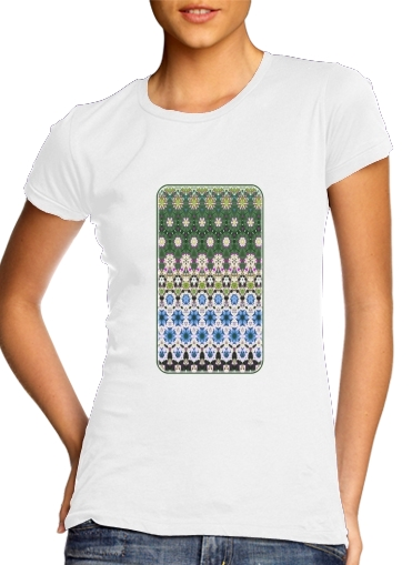 Abstract ethnic floral stripe pattern white blue green for Women's Classic T-Shirt