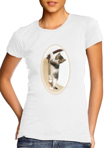 woment Baby cat, cute kitten climbing T-Shirts