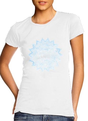 Bohemian Flower Mandala in Blue for Women's Classic T-Shirt