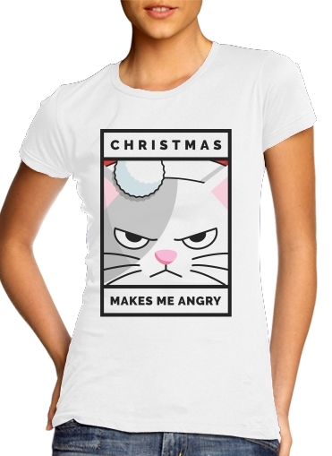woment Christmas makes me Angry cat T-Shirts