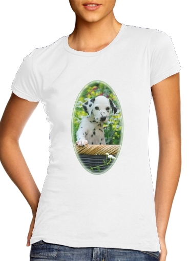 Cute Dalmatian puppy in a basket  for Women's Classic T-Shirt