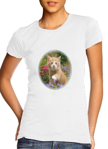 Cute ginger kitten in a flowery garden, lovely and enchanting cat for Women's Classic T-Shirt