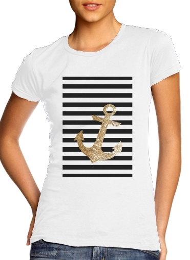 T-Shirts gold glitter anchor in black