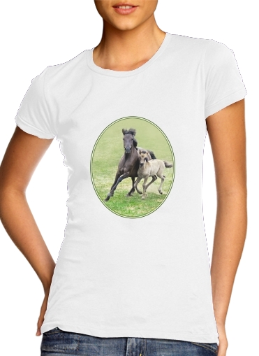 woment Horses, wild Duelmener ponies, mare and foal T-Shirts