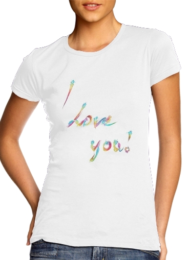 I love you - Rainbow Text for Women's Classic T-Shirt