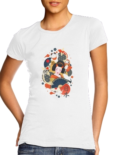 T-Shirts Japanese geisha surrounded with colorful carps