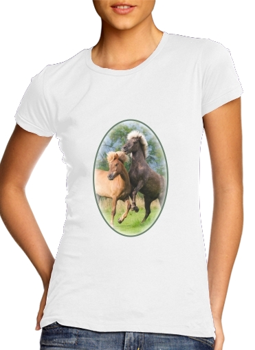 woment Two Icelandic horses playing, rearing and frolic around in a meadow T-Shirts