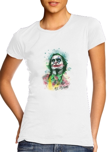 woment Watercolor Joker Clown T-Shirts