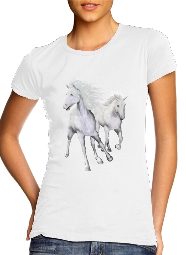 White Horses on the beach for Women's Classic T-Shirt