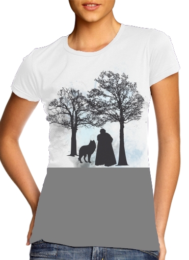 woment Wolf Snow T-Shirts